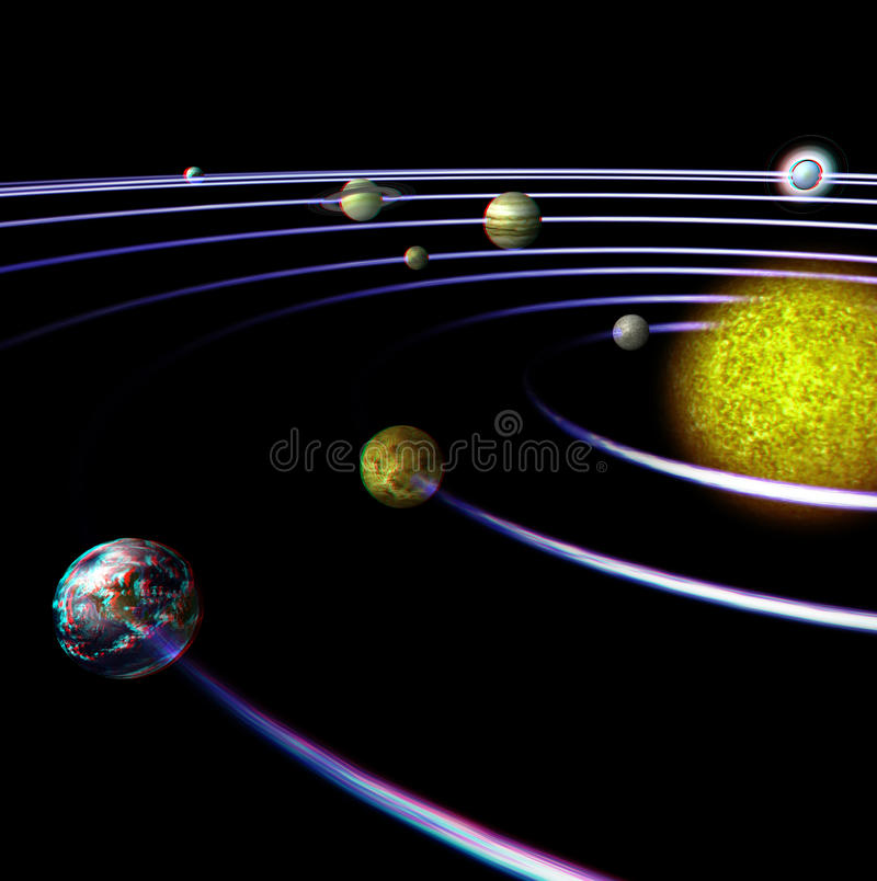 This is an anaglyph image / stereo rendering of. The solar system. The 3d effect however is only visible with red-cyan-specs (red/blue-googles vector illustration