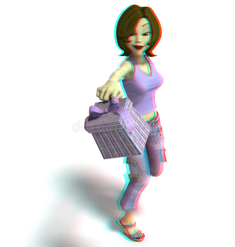 This is an anaglyph image / stereo rendering of a. Toon girl with gift box. The 3d effect however is only visible with red-cyan-specs (red/blue-googles royalty free illustration