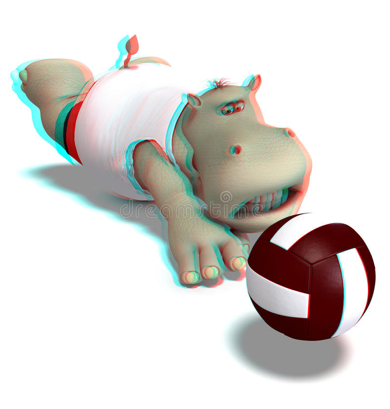 This is an anaglyph image / stereo rendering of a. Hippo playing volleyball. The 3d effect however is only visible with red-cyan-specs (red/blue-googles vector illustration