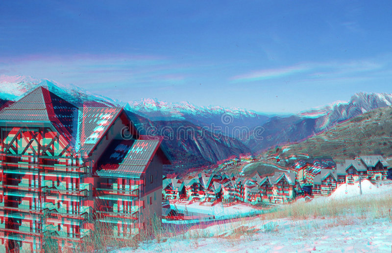 Anaglyph valmeinier 1800 winter royalty free stock photography