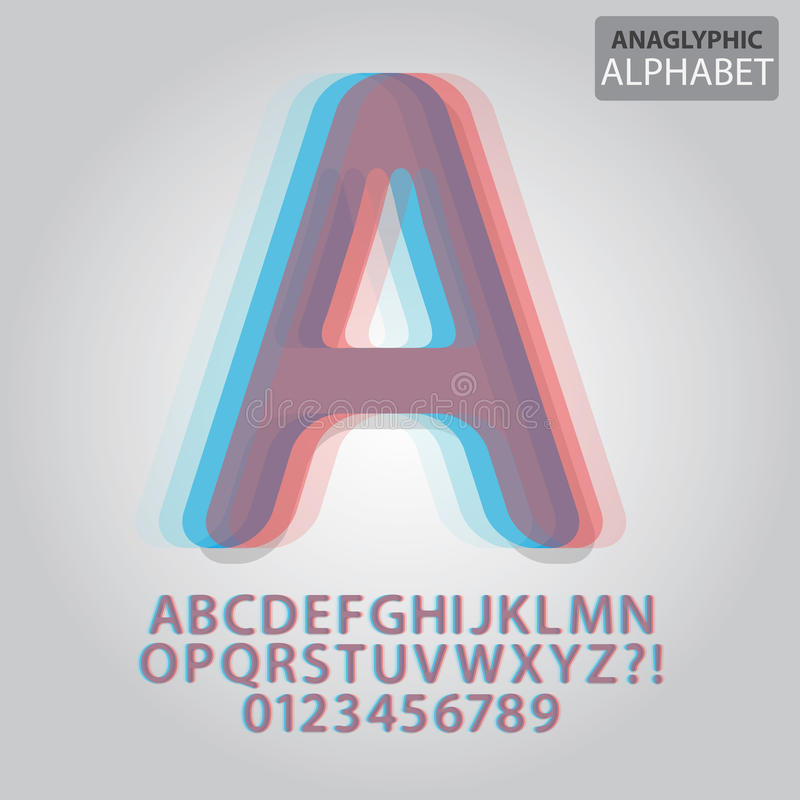 Anaglyphic Alphabet and Numbers Vector royalty free illustration