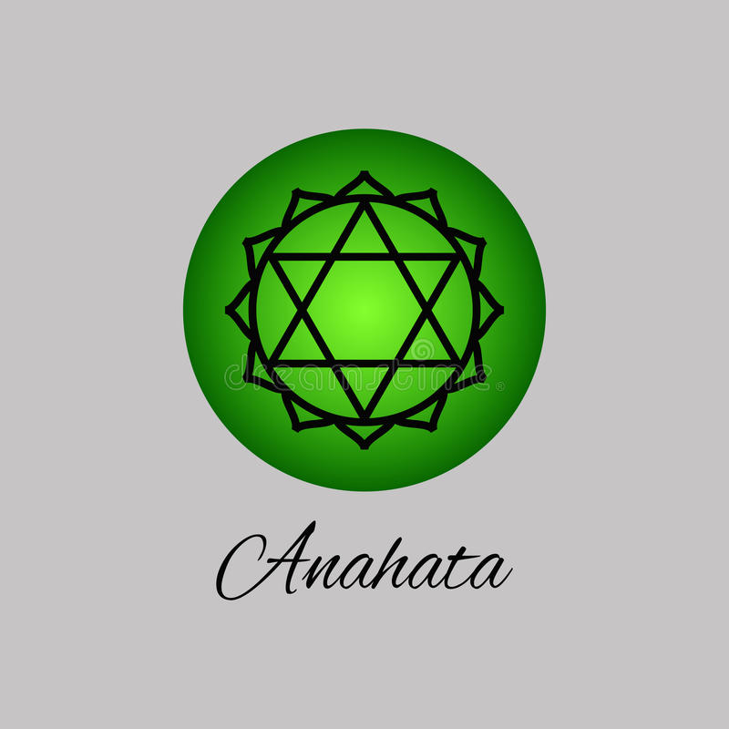 Anahata 心脏chakra 人的第四个查克拉标志 皇族释放例证