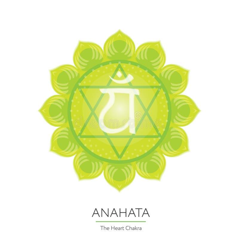Anahata chakra - ayurvedic symbol vektor illustrationer