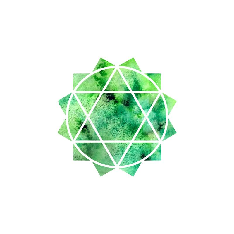 Anahata chakra. Sacred Geometry. One of the energy centers in the human body. Object for design intended for yoga. Vector illustration royalty free illustration