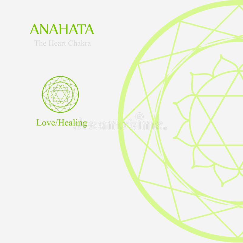 Anahata- The heart chakra which stands for love or healing. The word anahata means unhurt, unstruck, and unbeaten royalty free illustration