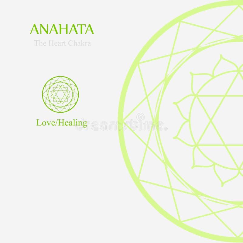 Anahata- hjärtachakraen som står för förälskelse eller att läka royaltyfri illustrationer