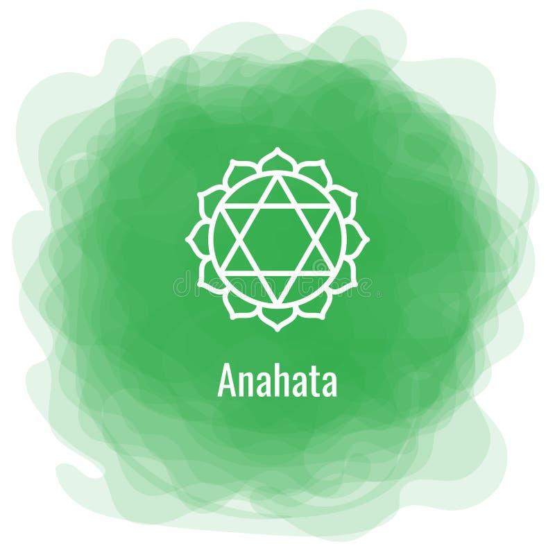 Anahata symbol Den fjärde hjärtachakraen Rökig cirkel för vektorgräsplan Linje symbol Sacral tecken meditation royaltyfri illustrationer