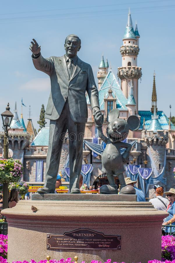 Walt Disney and Mickey Mouse statue at Disneyland royalty free stock photos