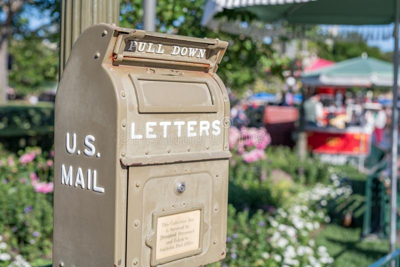 Disneyland Park in Anaheim, California. Anaheim, CA: July 1, 2019:  A United States Post Office box at Disneyland.   Disneyland opened on July 17, 1955 royalty free stock photos