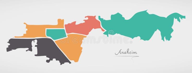 Anaheim California Map with neighborhoods and modern round shape. S illustration vector illustration