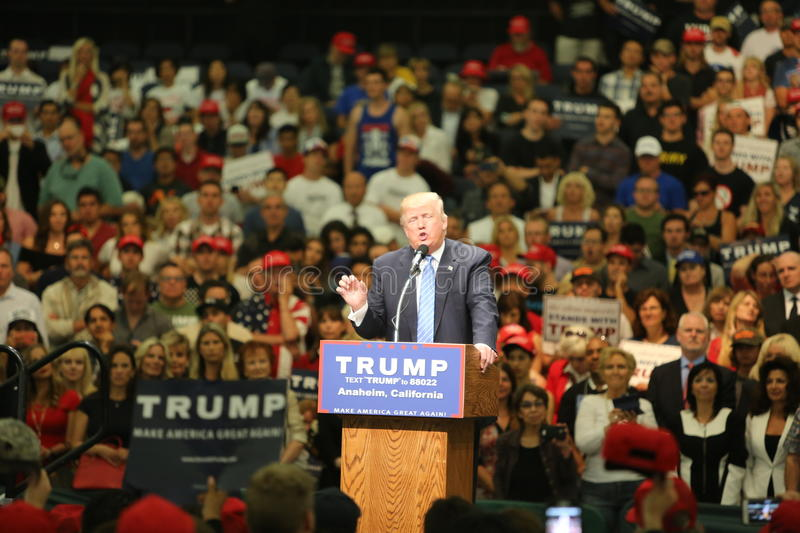 ANAHEIM CALIFORNIA, May 25, 2016: Thousands of Supporters, wave signs and show their support for Presidential Candidate Donald J. Trump at the Anaheim royalty free stock photo