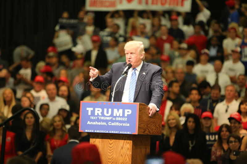 ANAHEIM CALIFORNIA, May 25, 2016: Thousands of Supporters, wave signs and show their support for Presidential Candidate Donald J. Trump at the Anaheim royalty free stock image