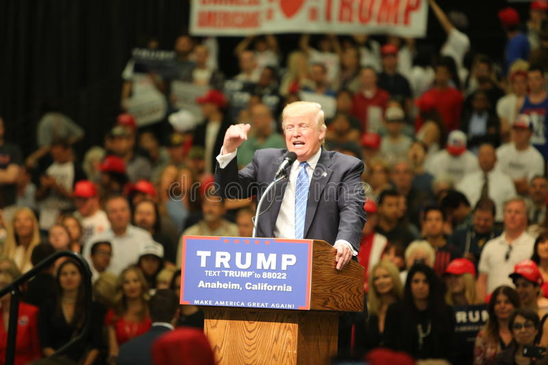 ANAHEIM CALIFORNIA, May 25, 2016: Thousands of Supporters, wave signs and show their support for Presidential Candidate Donald J. Trump at the Anaheim stock images