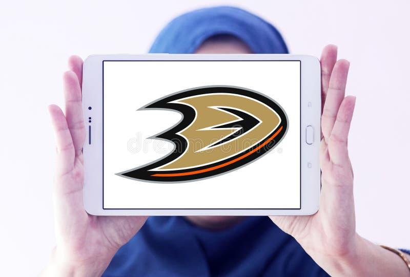 Anaheim Ducks ice hockey team Club logo. Logo of Anaheim Ducks ice hockey team Club on samsung tablet holded by arab muslim woman. The Anaheim Ducks are a stock photography