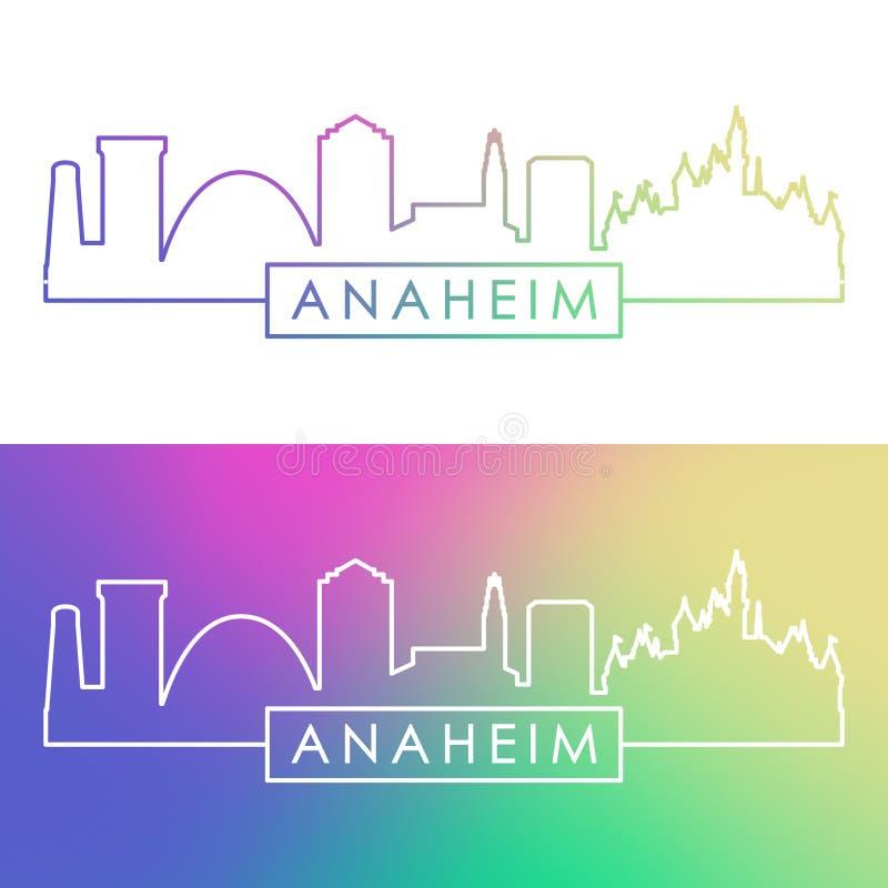 Anaheim linia horyzontu Kolorowy liniowy styl royalty ilustracja
