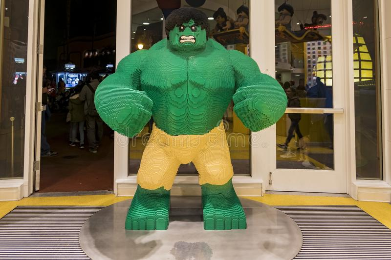 Huge Hulk lego statue in the famous Downtown Disney District, Di. Anaheim, NOV 11: Huge Hulk lego statue in the famous Downtown Disney District, Disneyland stock photography