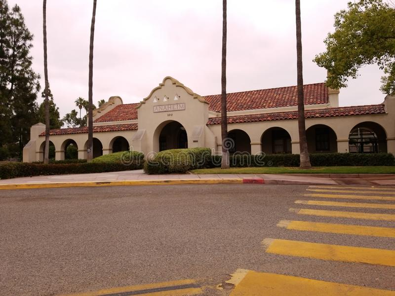Anaheim viejo Santa Fe Train Depot imagenes de archivo
