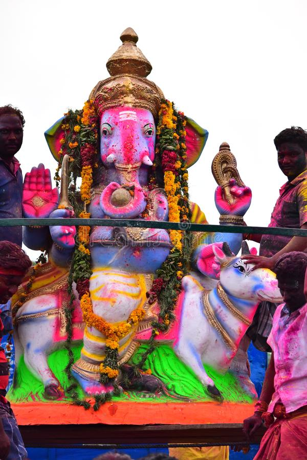 Anaipatti, Tamilnadu - Indien - 15. September 2018: Hindisches Festival, welches die Geburt von Ganesh feiert lizenzfreie stockfotos