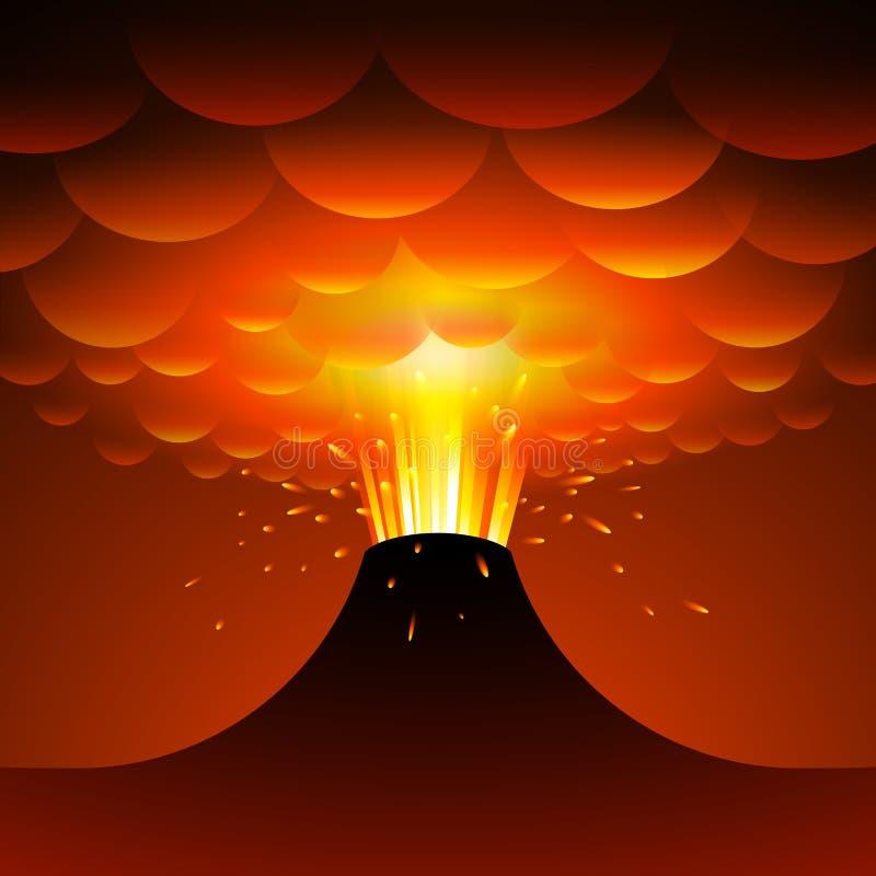 anak erupci Indonesia krakatau wulkan chłopiec kreskówka zawodzący ilustracyjny mały wektor royalty ilustracja