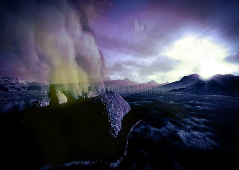 Anak Krakatau få utbrott royaltyfri illustrationer