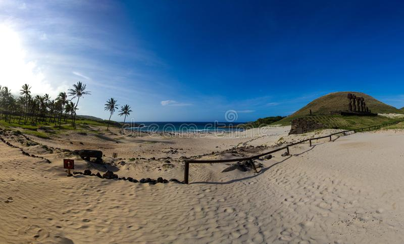 Anakena Beach - Easter Island, Chile. Anakena beach background, located in Rapa Nui National Park, Easter Island, Chile. Name of the location in Spanish: `Playa stock photos