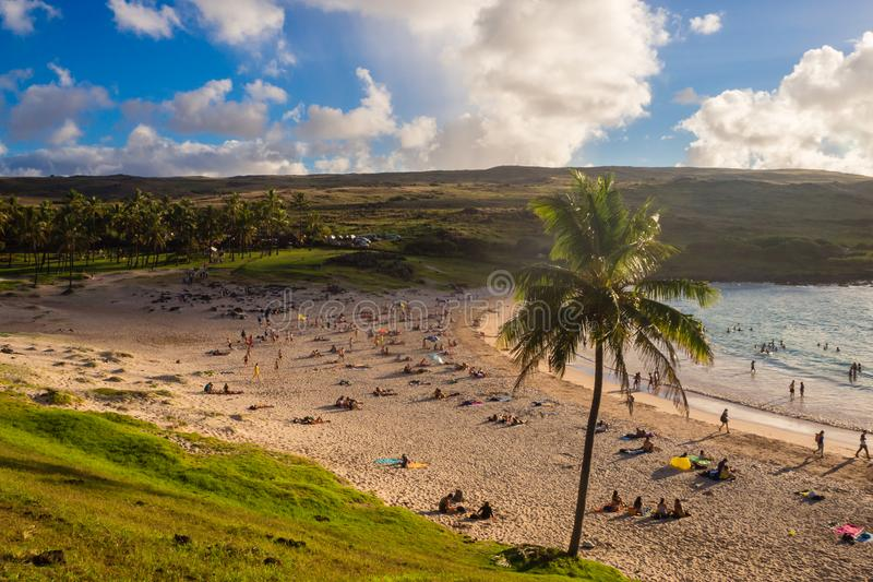 Anakena beach in Easter island in a sunny day. Chile royalty free stock photo