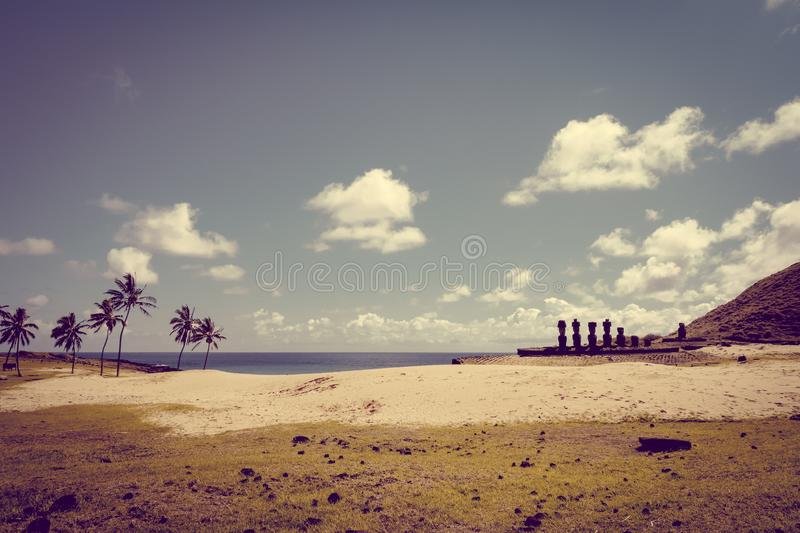 Anakena palm beach and Moais statues site ahu Nao Nao, easter is. Land, Chile stock image