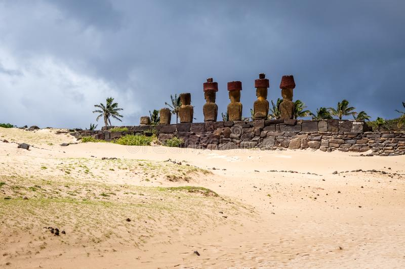 Anakena palm beach and Moais statues site ahu Nao Nao, easter is. Land, Chile royalty free stock image