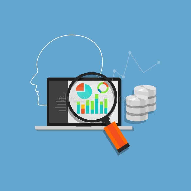 Analítica da análise de dados que mina o sistema de base de dados ilustração stock