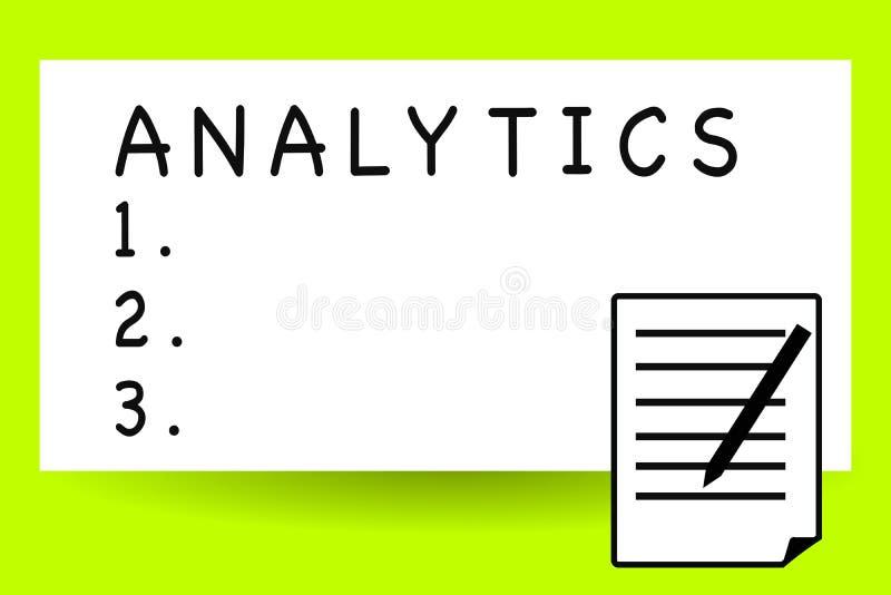 Analítica da escrita do texto da escrita A análise computacional sistemática do significado do conceito de estatísticas dos dados ilustração do vetor