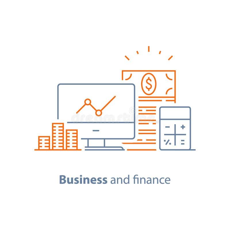 Analítica do desempenho financeiro, aumento da renda, investimento a longo prazo, gestão de fundo, gráfico dos dividendos, relató ilustração royalty free