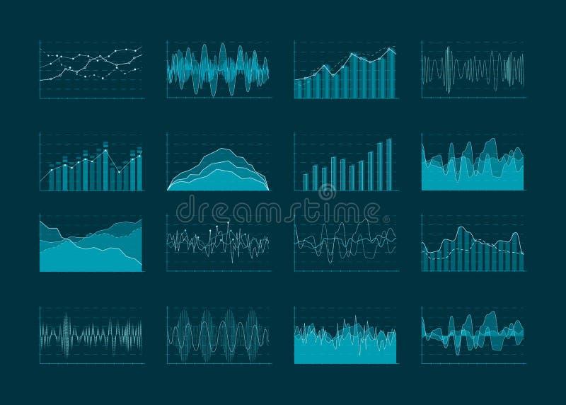 Analítica do negócio e diagramas abstratos das estatísticas Conceito, carta financeira e lote do gráfico da estatística dos dados ilustração do vetor