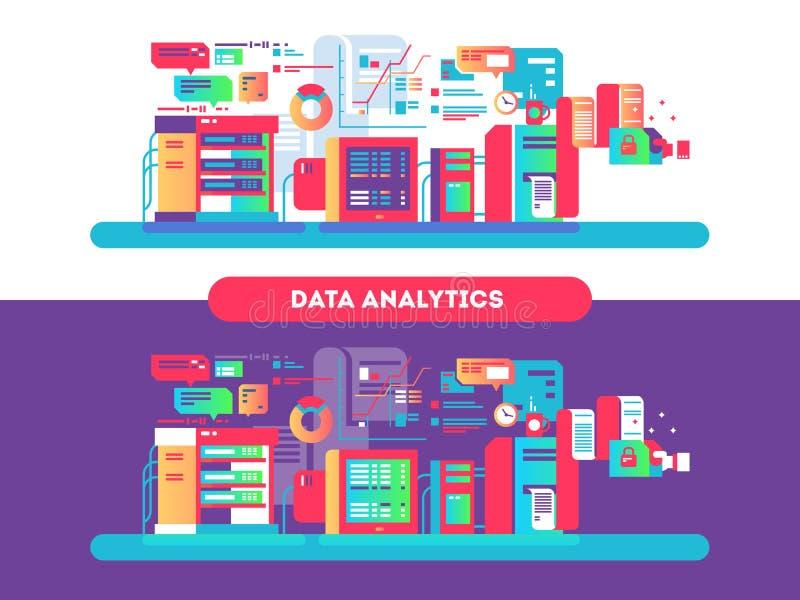 A analítica dos dados projeta horizontalmente ilustração do vetor