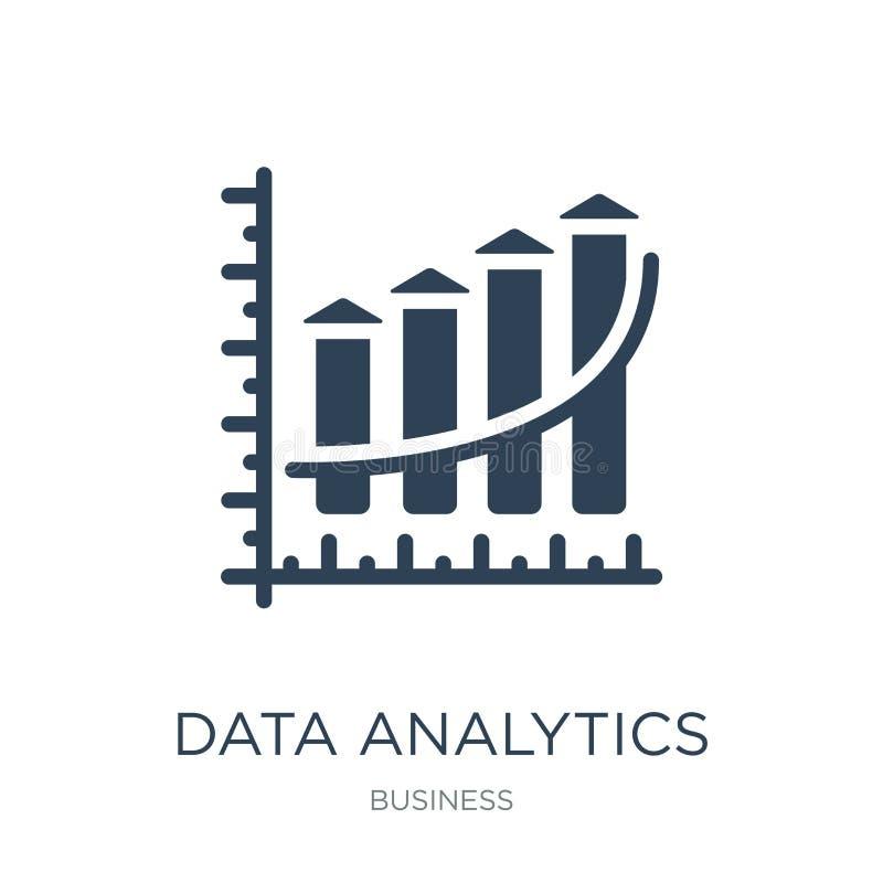 analítica dos dados que upgoing o ícone da carta de barras no estilo na moda do projeto analítica dos dados que upgoing o ícone d ilustração stock