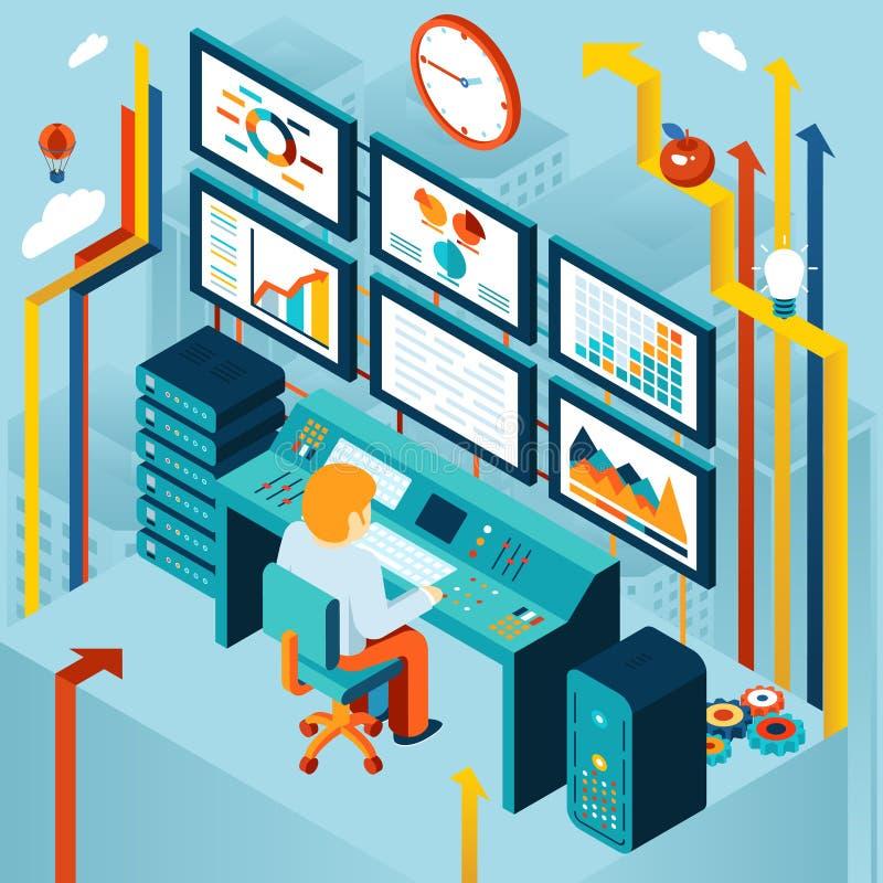 Analítica e análise de negócio financeiras ilustração stock