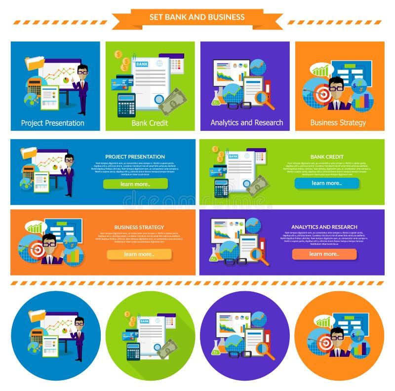 Analítica e pesquisa da estratégia empresarial do conceito ilustração stock