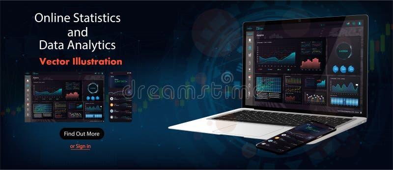 Analítica em linha das estatísticas e dos dados ilustração stock