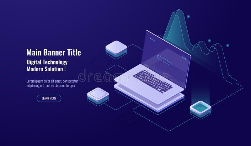 Analítica em linha, processo de dados grande, portátil com gráfico, visualização dos dados, isométrico, acesso de banco de dados, ilustração royalty free