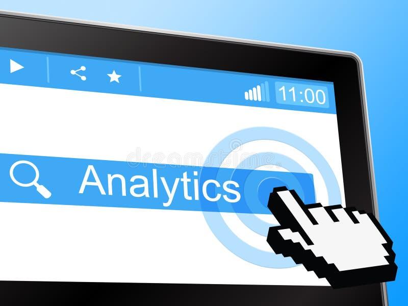 A analítica em linha representa o world wide web e a rede ilustração stock