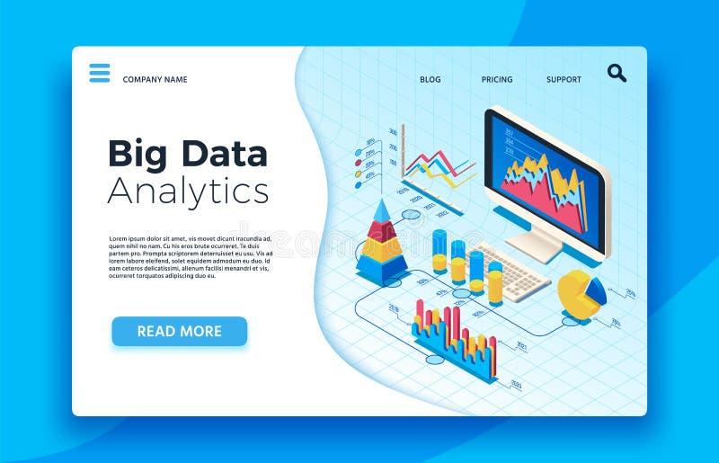 Analítica grande isométrica dos dados Painel infographic analítico da estatística ilustração do vetor 3d ilustração stock