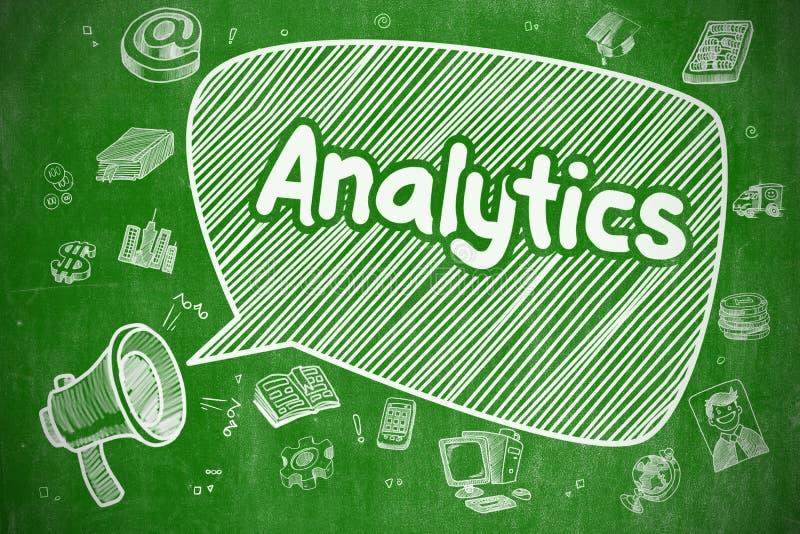 Analítica - ilustração da garatuja no quadro verde ilustração stock