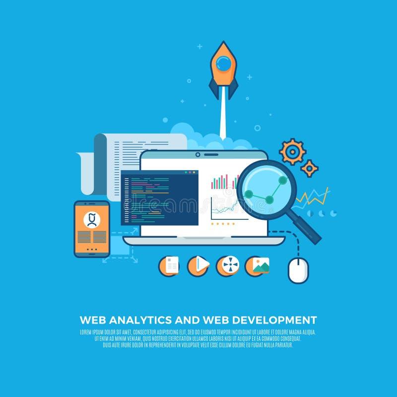 Analítica informação da Web e fundo liso do conceito do desenvolvimento do Web site ilustração do vetor