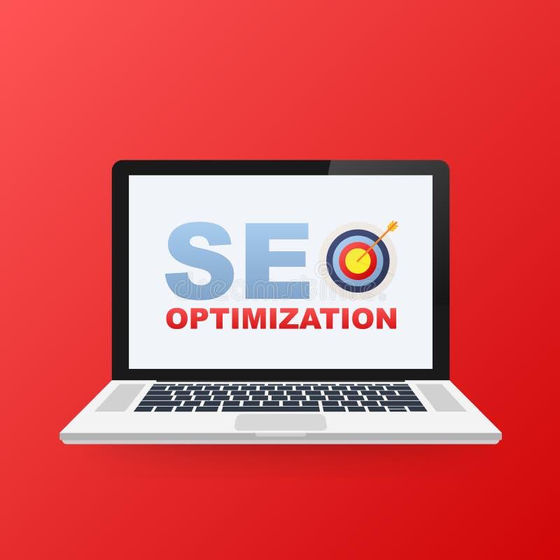 A analítica lisa da Web da ilustração do vetor projeta, ícone da otimização de SEO na tela do portátil ilustração do vetor