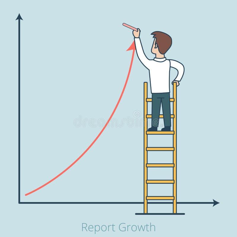 A analítica lisa linear equipa o relatório de couro GR do crescimento ilustração stock