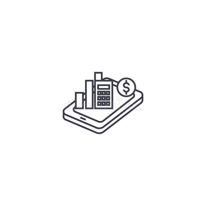 A analítica móvel vector a linha ícone, sinal, ilustração no fundo, cursos editáveis ilustração royalty free