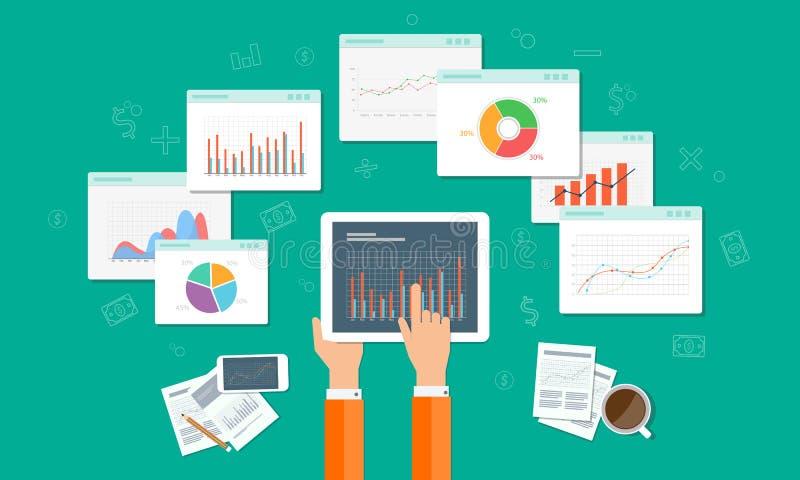 A analítica representam graficamente e o negócio do seo no dispositivo móvel imagem de stock royalty free