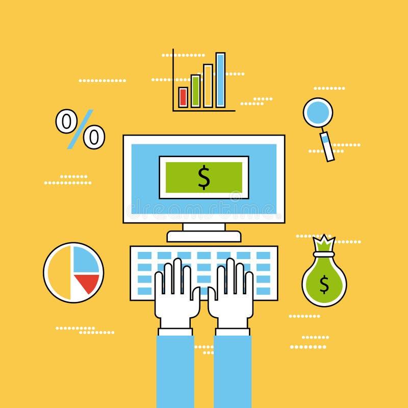 Analítico e investimentos lisos ilustração royalty free