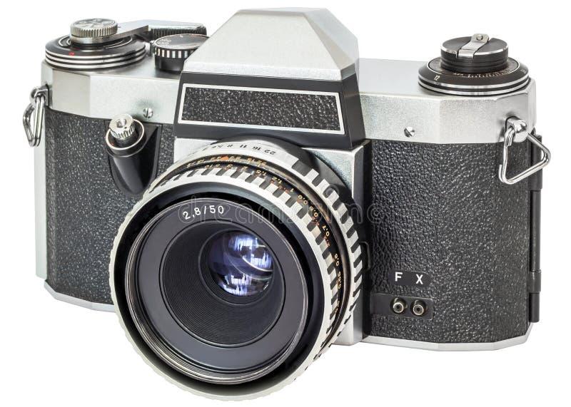 Analógico do vintage câmera de reflexo da única lente de 35 milímetros isolada no fundo branco foto de stock royalty free