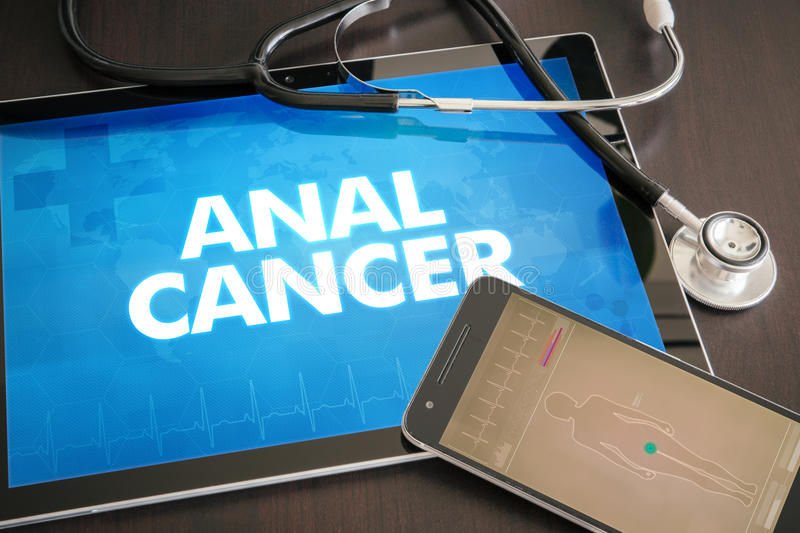Anal cancer (cancer type) diagnosis medical concept on tablet sc. Reen with stethoscope stock photos