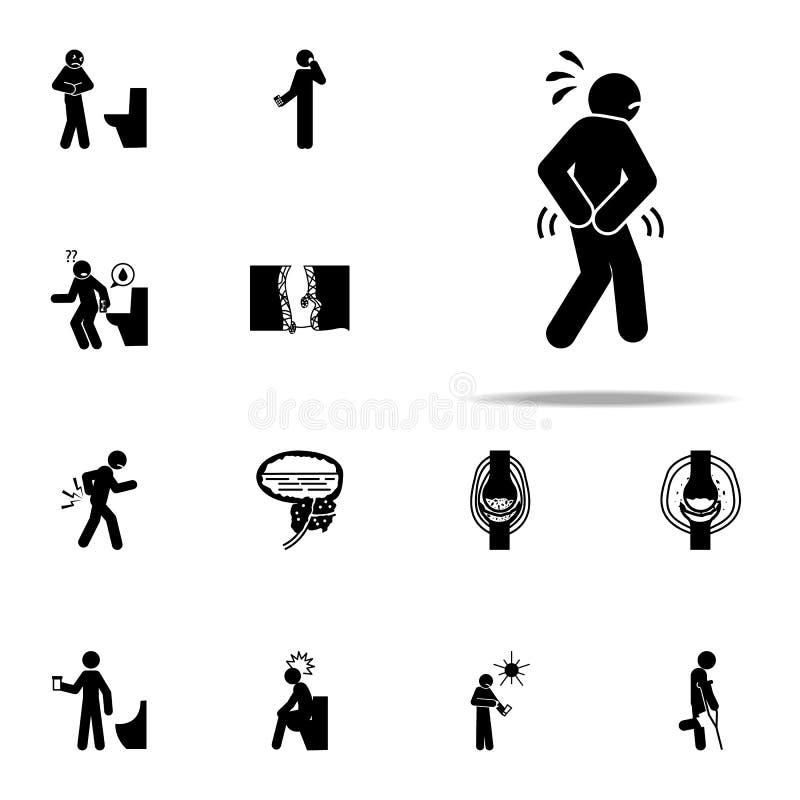 anal, cul, bout, icône de hémorroïdes Ensemble universel d'icônes de personnes de douleur pour le Web et le mobile illustration libre de droits